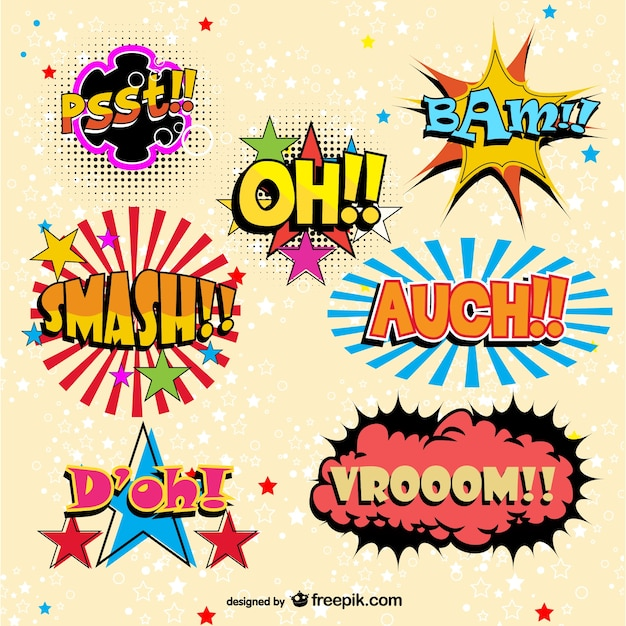Funny comic book onomatopeyas Free Vector