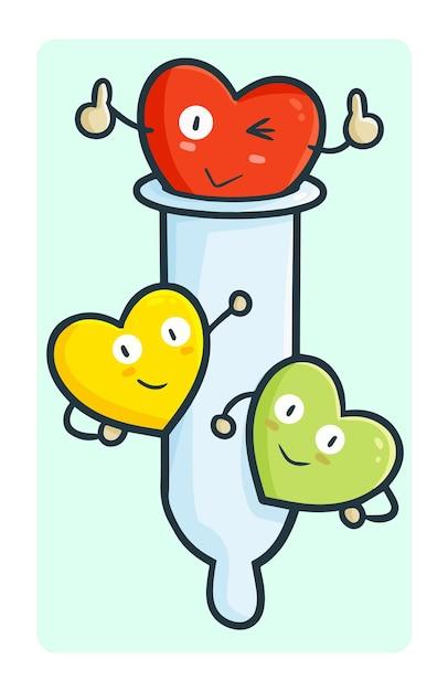 Забавный презерватив с сердечками вокруг него в простом стиле каракули каваи Premium векторы