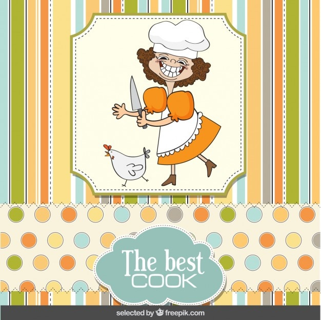 Funny Cook Card In Scrapbook Style Vector Free Download