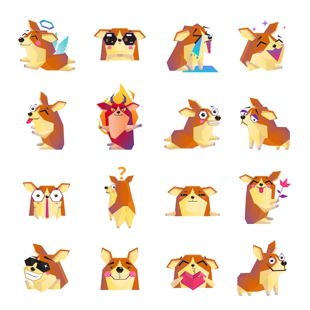 Funny corgi dog cartoon icons set Free Vector