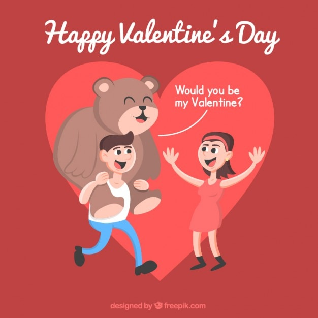 Funny couple celebrating valentines day Vector | Free Download