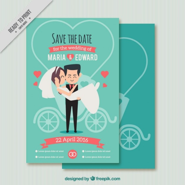 Funny couple wedding card Vector Free Download