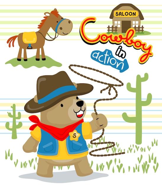 Funny cowboy cartoon Premium Vector