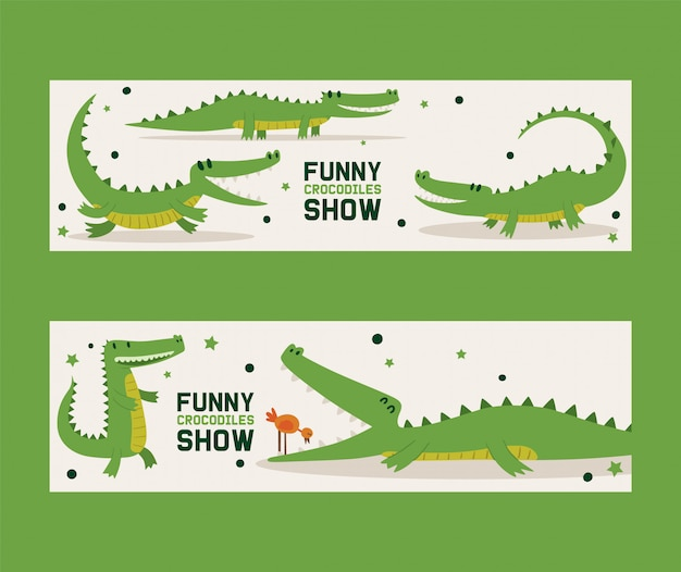 Funny crocodiles show set of banners vector illustration. bird standing in mouth of alligator. animal in different poses and activities, sitting Premium Vector