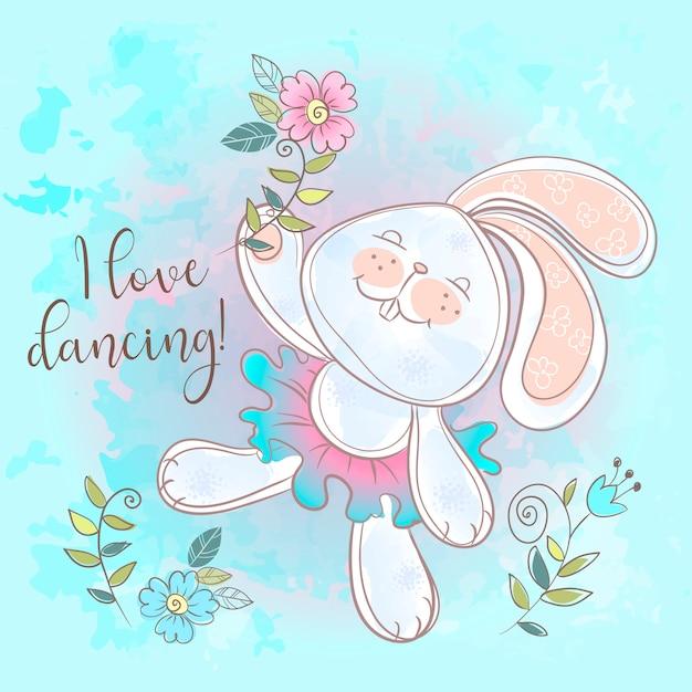 Funny cute bunny dancing. i love dancing. Premium Vector