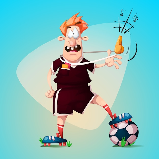 Funny, cute cartoon football referee. Premium Vector