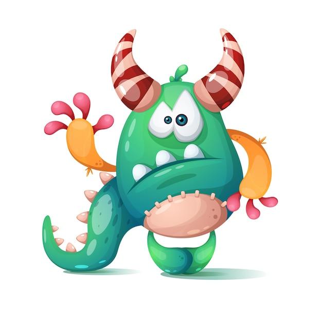 Funny cute cartoon monster dino Premium Vector