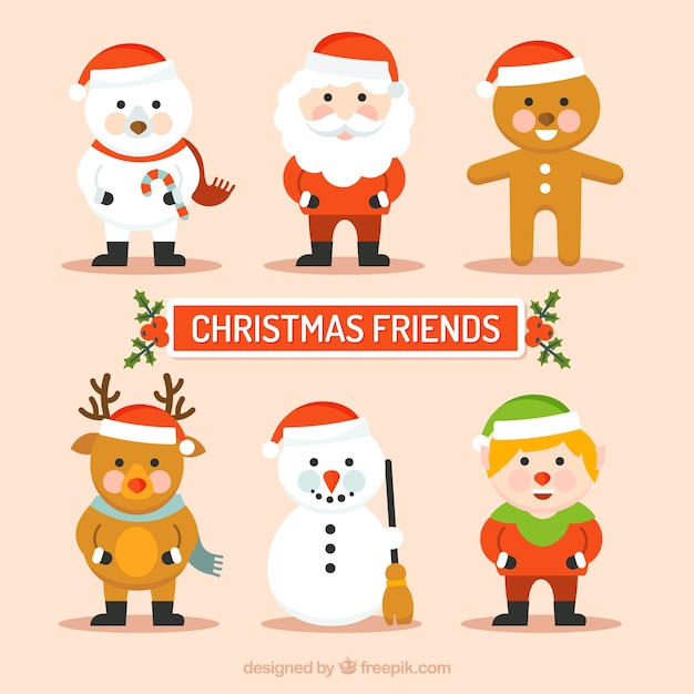 Funny cute christmas characters