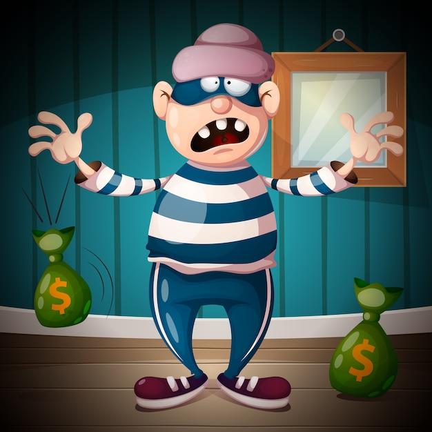 Funny, cute, crazy cartoon thief characters Premium Vector