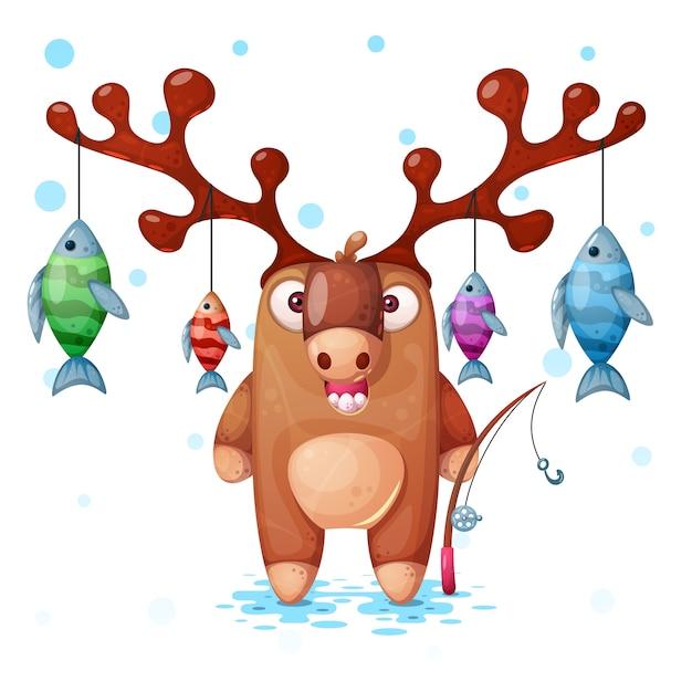 Funny, cute, crazy deer characters. fish fishing illustration. Premium Vector