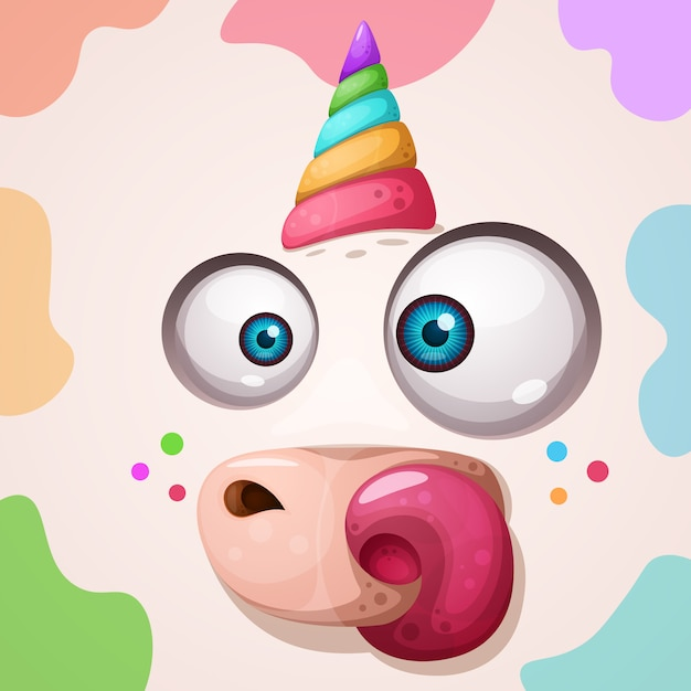 Funny, cute crazy magic rhino character. halloween illustration. Premium Vector