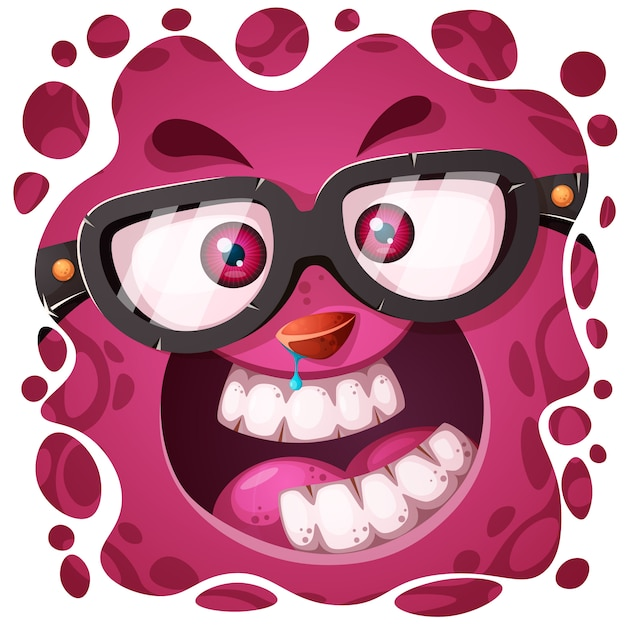 Funny, cute crazy monster character Premium Vector