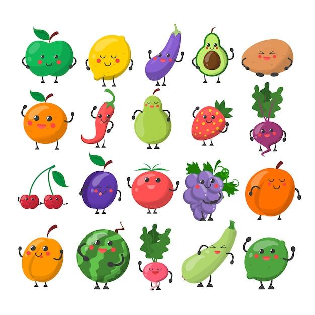 행복 한 얼굴로 재미 있은 귀여운 과일과 야채. 사과, 레몬, 배, 오렌지. 만화 캐릭터 미소와 재미 격리. 프리미엄 벡터