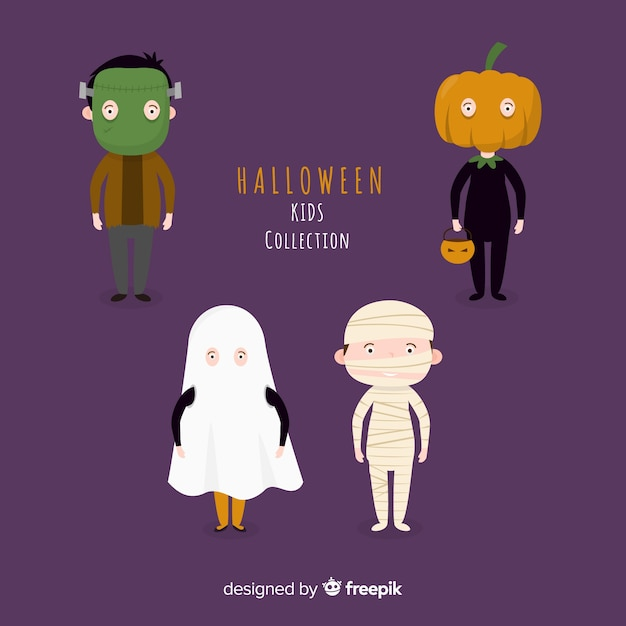 Funny and cute halloween costume kids set with purple background Free Vector