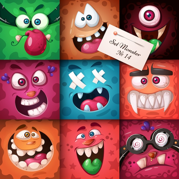 Funny, cute monster character. halloween illustration. Premium Vector