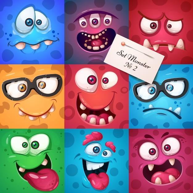 Funny cute monster character Premium Vector
