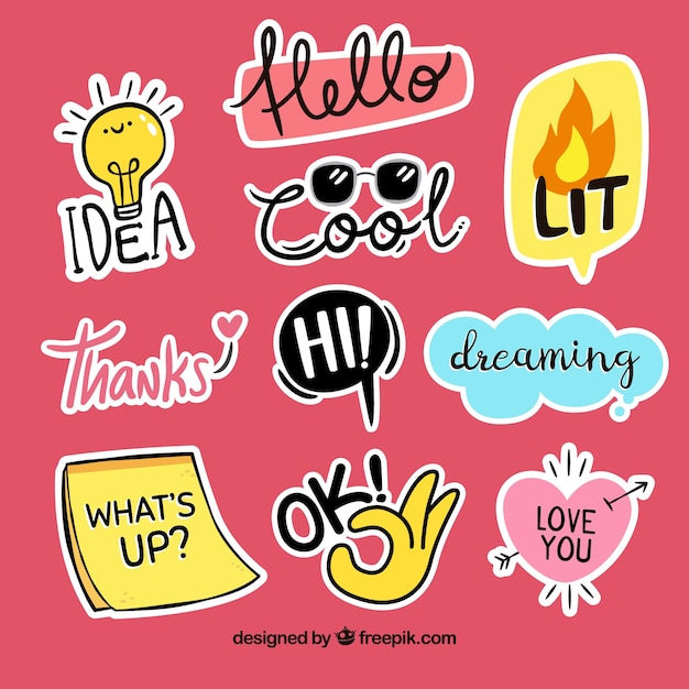 Funny decorative stickers Free Vector