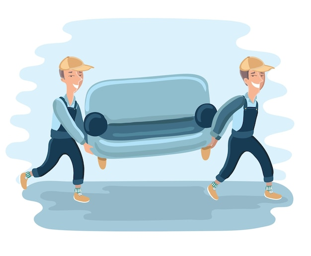 Funny delivery character man movers carry sofa. detailed illustration isolated on white background. Premium Vector