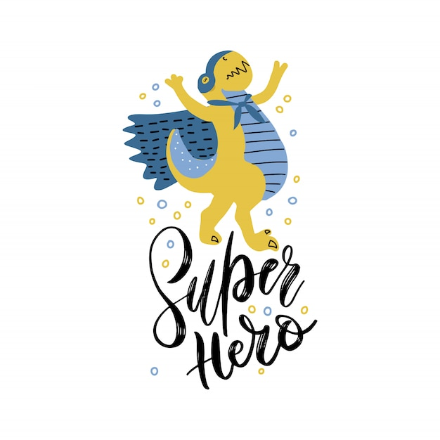 Funny dinosaur in superhero costume and mask. Premium Vector