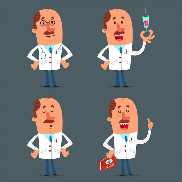 Funny doctor character set. vector cartoon medical worker isolated Premium Vector