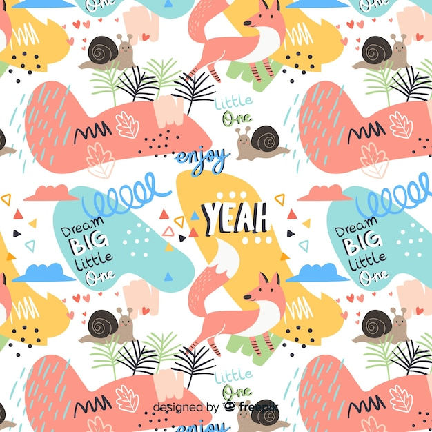 Funny doodle animals and words pattern Free Vector