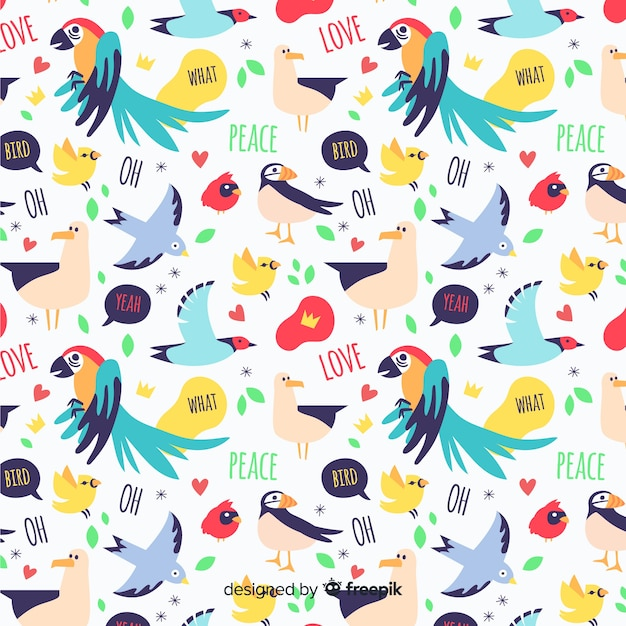 Funny doodle birds and words pattern Free Vector