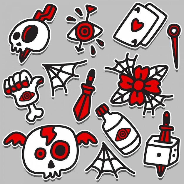 Забавный рисунок татуировки дизайн иллюстрация Premium векторы