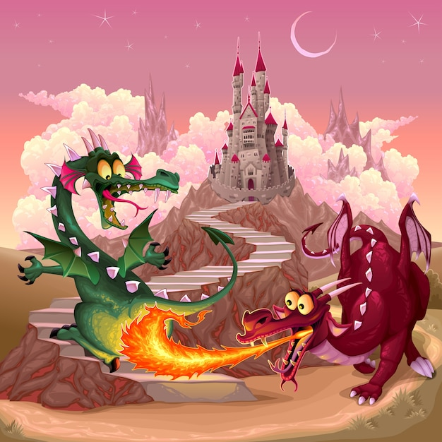 Funny dragons Free Vector
