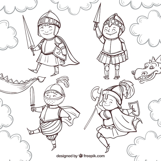 Funny drawings knight set