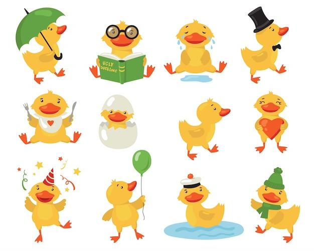 Funny duckling set Free Vector