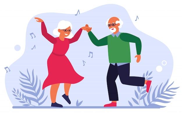 Funny elderly couple dancing Free Vector