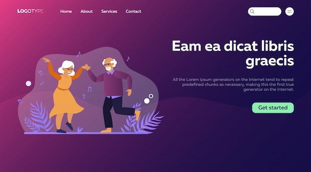 Funny elderly couple dancing Free Vector