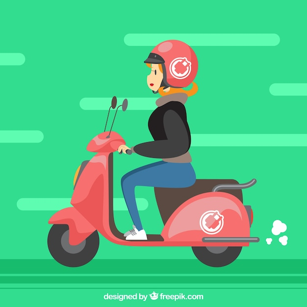 Funny electric scooter design Free Vector