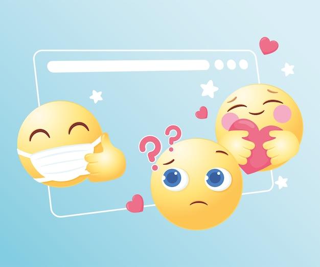 Смешные смайлики смайликов реакции иллюстрации в социальных сетях Premium векторы