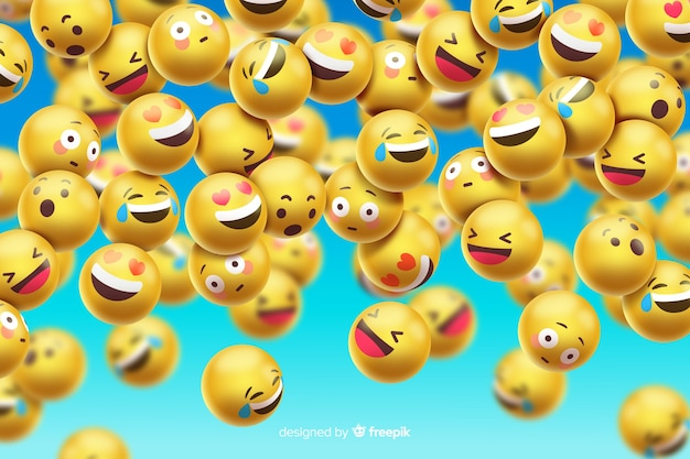 Funny emoticons background design Free Vector
