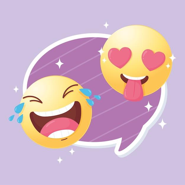愛と幸せなイラストの面白い絵文字ソーシャルメディア Premiumベクター