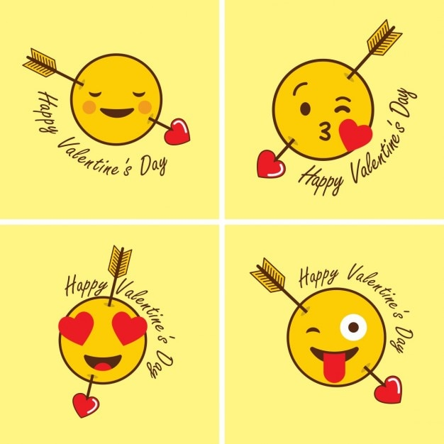Funny emoticons for valentine Vector | Free Download