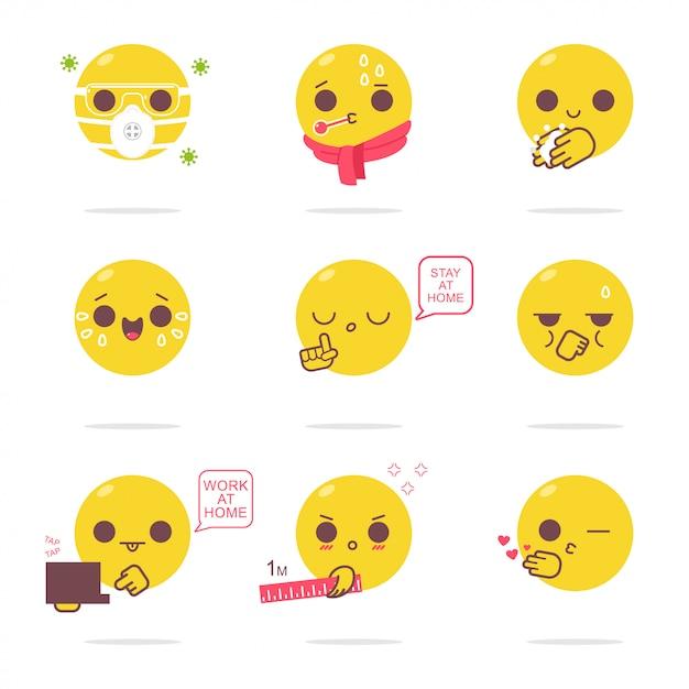 Смешные эмоции заболеваний и защиты от вируса мультяшный набор, изолированных на белом фоне. Premium векторы
