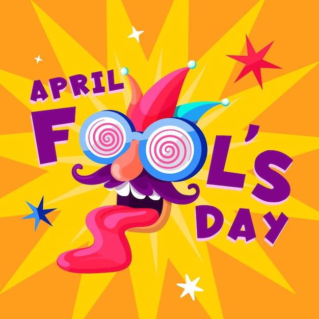Funny face april fool's day Free Vector