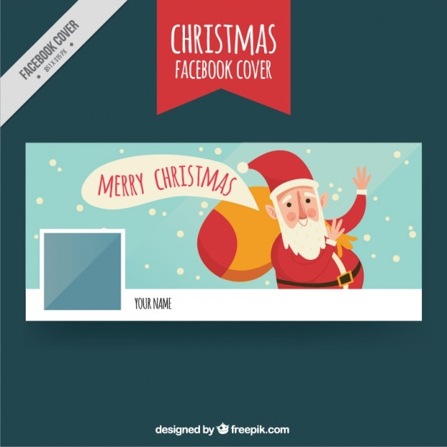Funny facebook cover with santa greeting Vector | Free Download