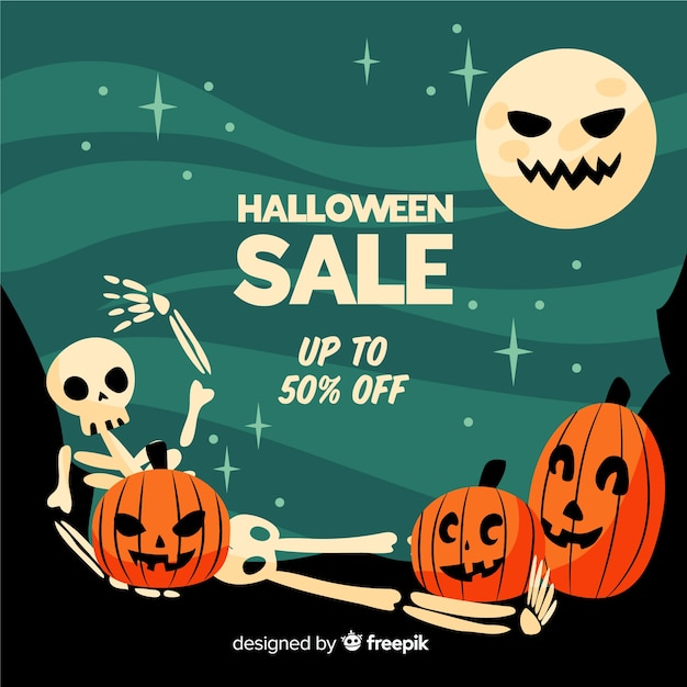 Funny faces flat halloween sale Free Vector