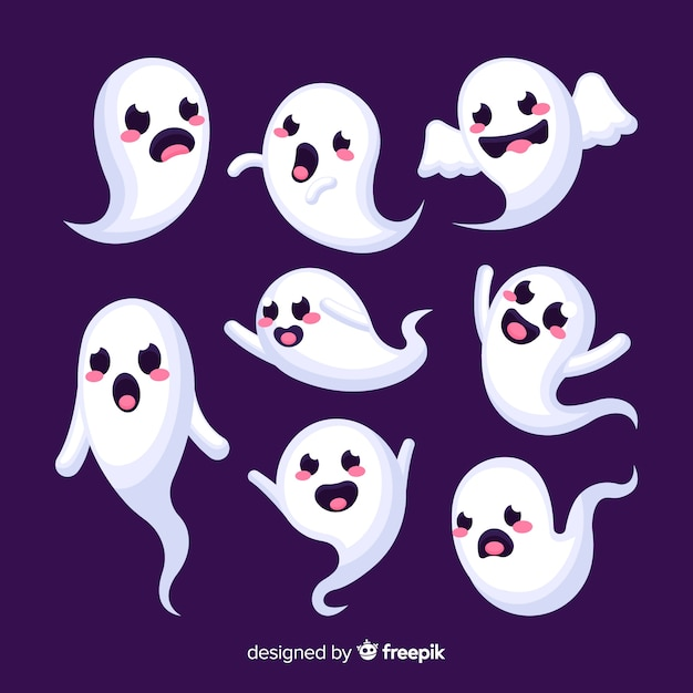 Funny faces ghost halloween collection Free Vector