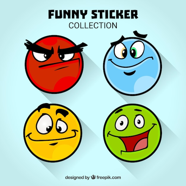Funny faces stickers collection