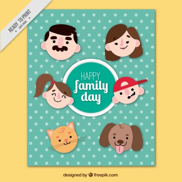 Funny family day card with faces un flat\ design