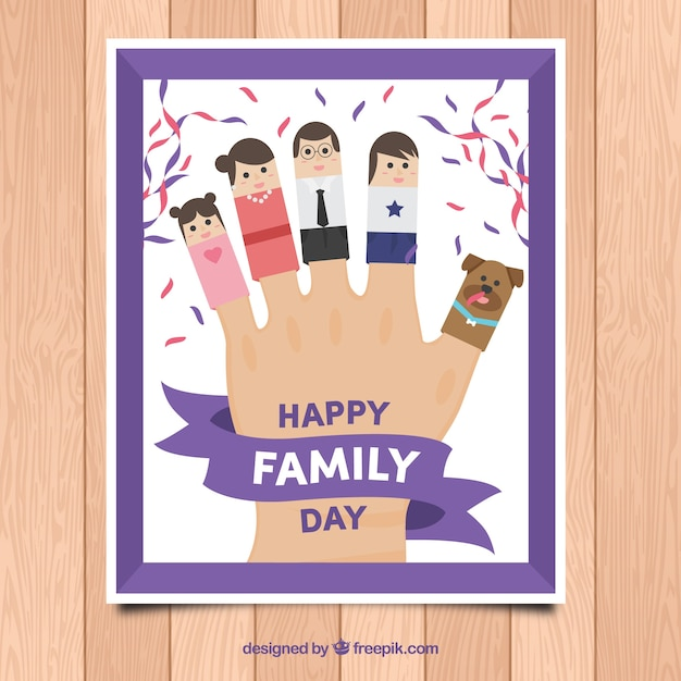 Funny family day greeting of hand with\ characters
