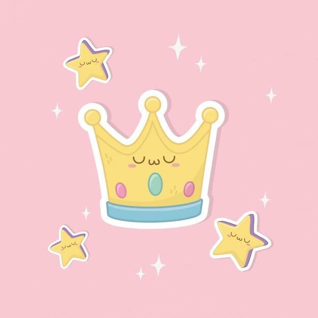 Funny fantasy crown kawaii character Premium Vector