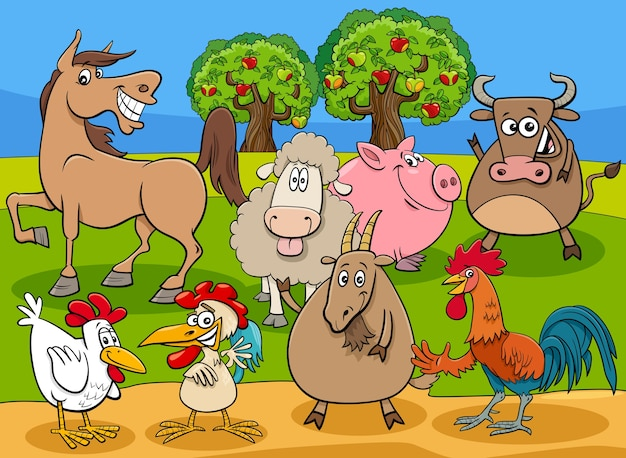 Premium Vector | Funny farm animals cartoon characters group