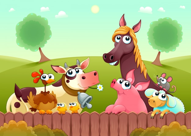 Funny farm animals smiling near the fence Free Vector