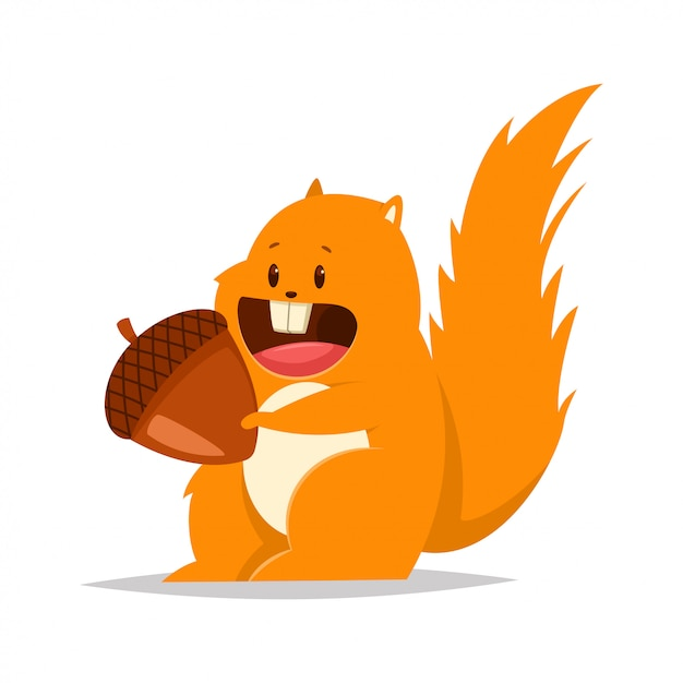 Funny fat squirrel with a nut. vector cartoon flat character of forest animal. Premium Vector
