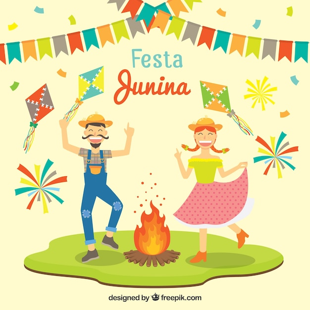 Funny festa junina background with dancing\ couple